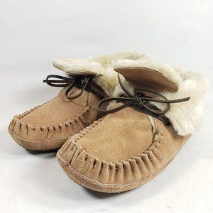 Zealand Ankle Moccasins Womens Size 6 Tan Suede